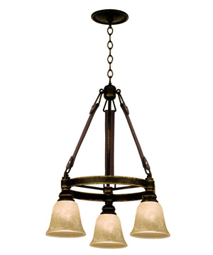 Kalco - 4633AC/ECRU - Three Light Chandelier - Rodeo Drive - Antique Copper