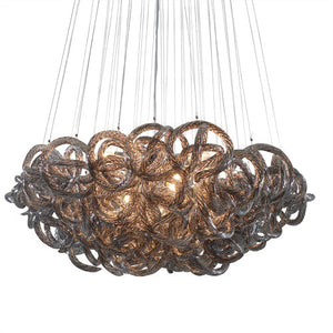 Viz Art Glass - Metallic Silver Glass with Chrome Finish Infinity Chandelier - CH-2416-13MT
