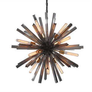 Viz Art Glass - Pearl Black with Brushed Brass EOS Chandelier - CH-B330-12PN