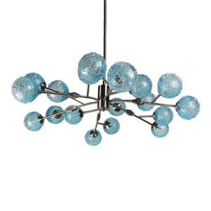 Viz Art Glass Aqua Colored Glass with Satin Finish Aurora Chandelier - CH-D2-18SBA