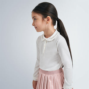 Mayoral Ivory long sleeved top with collar detail 131