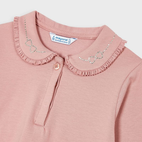 Mayoral Pink long sleeved top with collar detail 131
