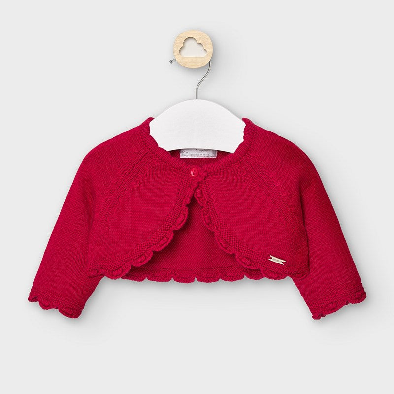 Mayoral Short knit red cardigan for newborn 307