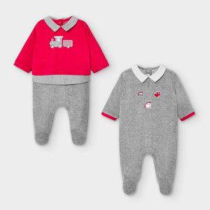 Mayoral set of two velour babygros 2774