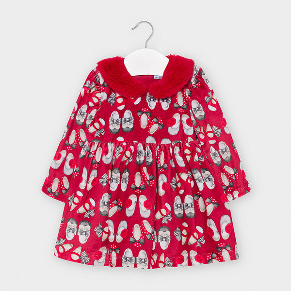 Mayoral Red Shoes print dress with fur collar 2951