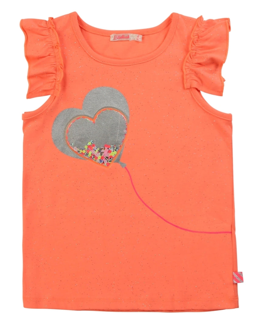 Billieblush Coral heart t-shirt