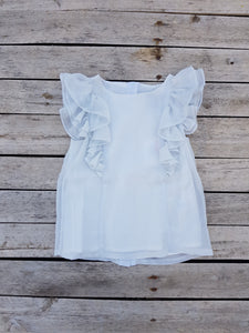 Little Lord & Lady white glimmer frill blouse