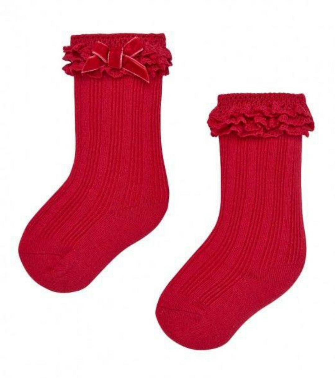 Mayoral Red baby girls bow knee high socks