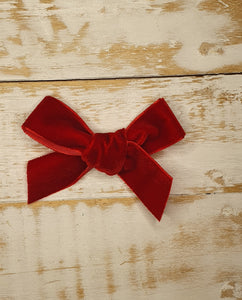 Lace and Lillies Handmade velvet ribbon clip - Red