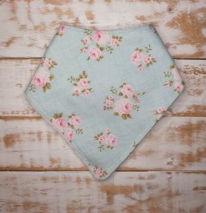Lace and Lillies Handmade dribble bib - duck egg blue floral