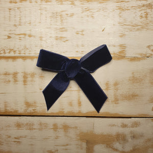 Lace and Lillies Handmade velvet ribbon clip - Navy blue