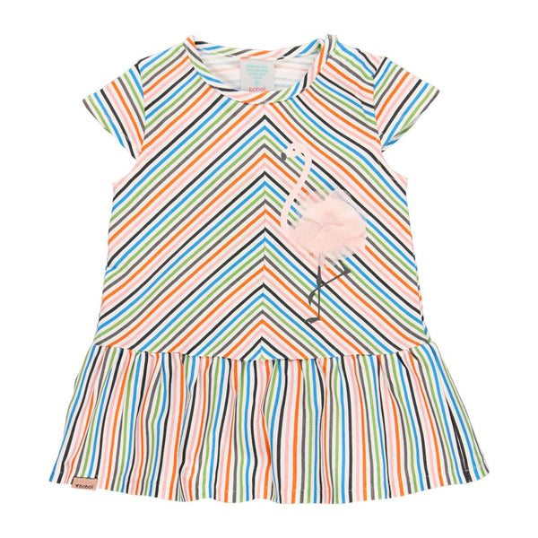 Boboli stripe Flamingo dress 222073