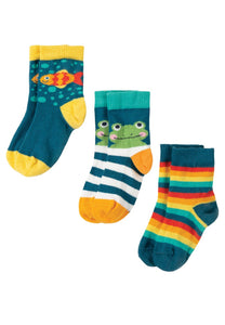 Frugi Little Socks 3 pack - frog