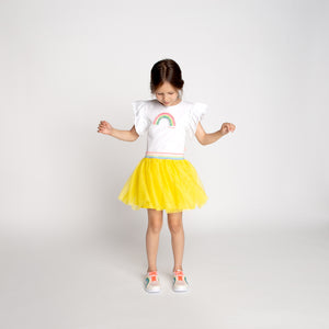 Billieblush white and yellow tulle rainbow dress