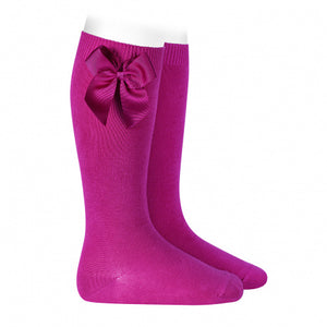 Condor Fuscia knee high socks with bow