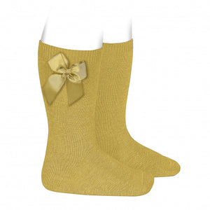 Condor Mustard knee high socks with bow