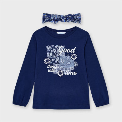Mayoral Navy L/S t-shirt with headband 3022