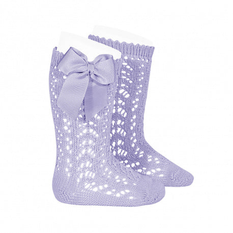Condor Mauve Openwork knee high socks with bow