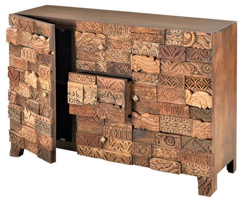 Carved Block Reclaimed Wood Sideboard Buffet for Dining Room Kitchen Living Room