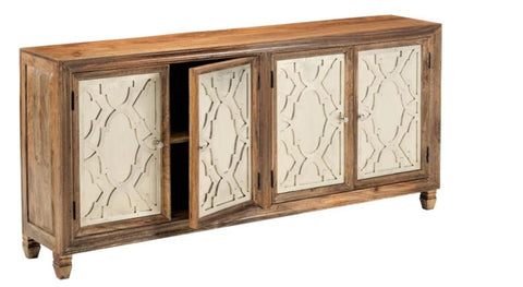 Rustic Sideboard Cabinet With Glass Mirrored Doors Reclaimed Wood Sideboard Buffet Server