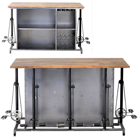 LOOMLAN Steampunk Industrial home bar island with footrest from repurposed bicycle parts