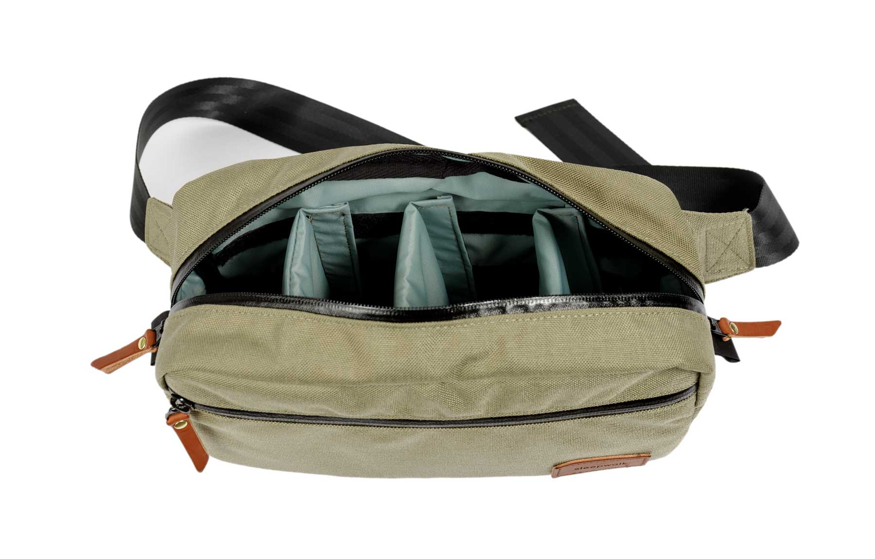 sleepwalk camera sling pack inside sage tan