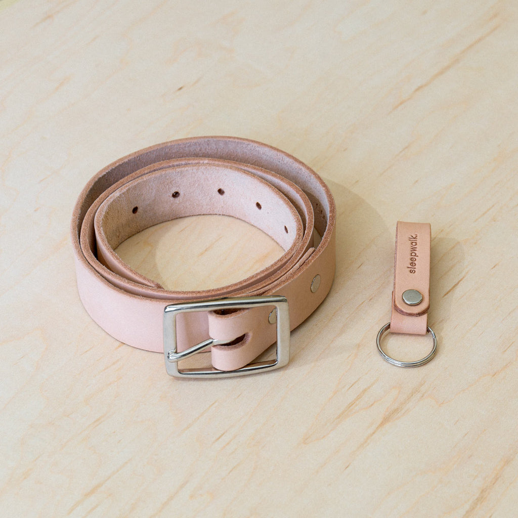 Slim Belt And Key Fob: Natural Bundle