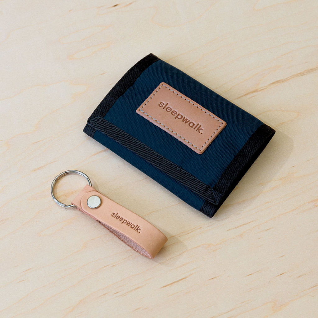 Tri Fold Wallet and Key Fob: Navy Bundle