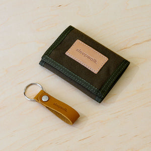 Tri Fold Wallet and Key Fob: Olive Bundle