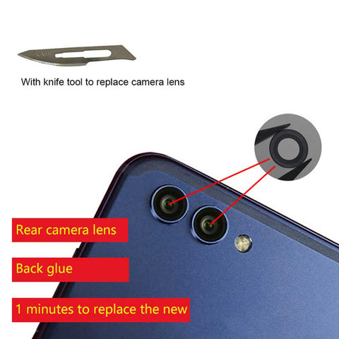 OEM Camera Glass Lens with Adhesive for Huawei Honor View 10 - 2pcs