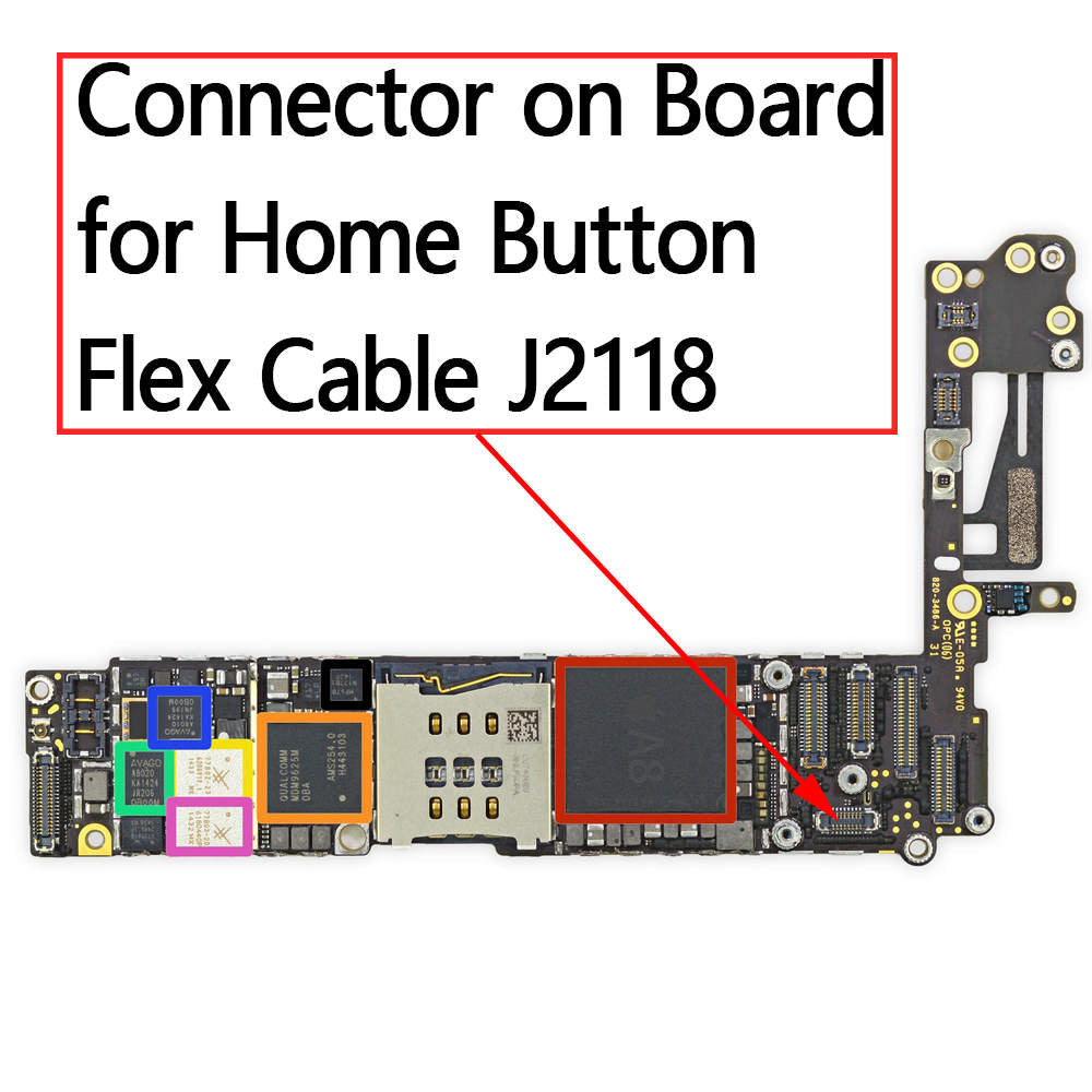 OEM 16pin Home Button FPC Connector on Board for iPhone 6