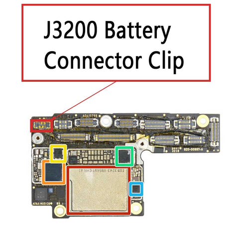 iPhone Xs XS Max Battery Connector Clip J3200 | myFixPats.com