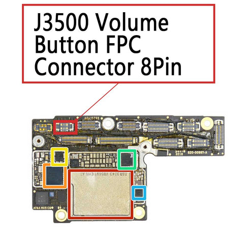 iPhone Xs XS Max J3500 Volume Button FPC Connector | myFixParts.com