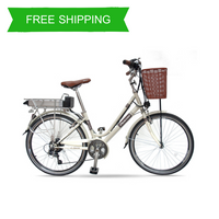 Step Through 6 Speed 26 Inch Women E-Bike Flying Pigeon OS (Silver/Yellow)
