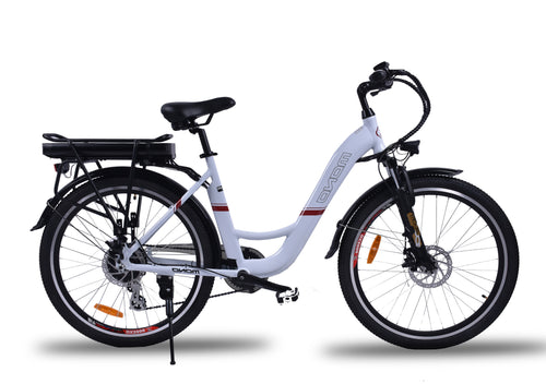 Powerful Step Through 26 Inch City Electric Bike S26MY18 SM (White/Black) White / 26 inch eBikesPro Australia