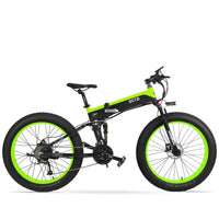 Affordable Powerful Folding 26 Inch Fat Tyre Electric Mountain Bike T500 OS (Green/Blue/Yellow) Green Black / 26 inch eBikesPro Australia