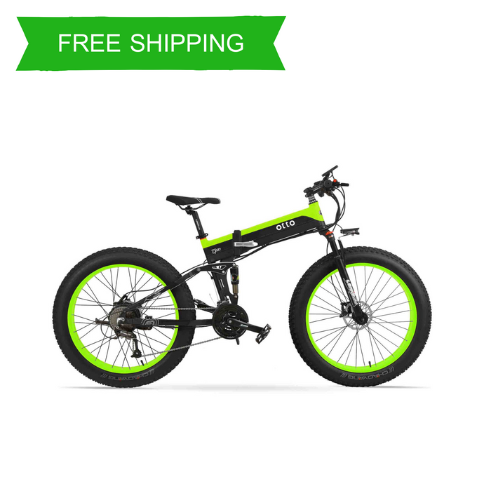 Affordable Powerful Folding 26 Inch Fat Tyre Electric Mountain Bike T500 OS (Green/Blue/Yellow)