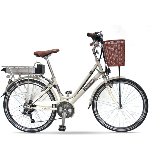 "Beautiful Lightweight 26"" Step Through 6 Speed External Battery Electric Bike Flying Pigeon OS (Silver/Yellow) Yellow / 26 inch eBikesPro Australia"