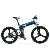 Folding Full Front Suspension Mountain Electric Bike XT700 OS (Yellow/Blue)