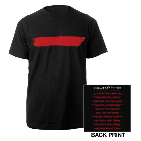 Red Stripe/US Dates Black T-shirt-Depeche Mode