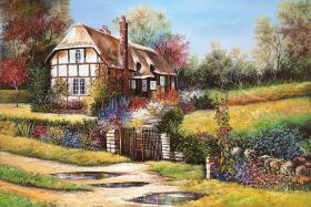 Garden Scene with House- 1000 PC