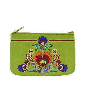 Embroidered Polska Flower Coin Pouch