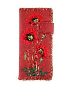 Large Embroidered Poppy Wallet