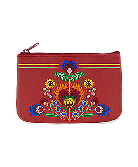 Embroidered Polska Flower Coin Pouch- Red