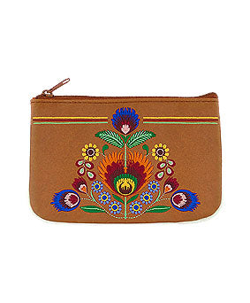 Embroidered Polska Flower Coin Pouch- Brown