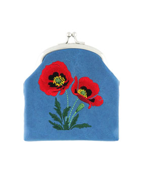 Embroidered Poppy Coin Purse- Blue
