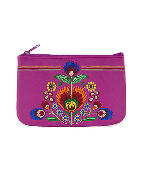 Embroidered Polska Flower Coin Pouch- Purple