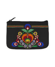 Load image into Gallery viewer, Embroidered Polska Flower Coin Pouch- Black