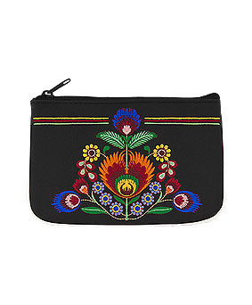 Embroidered Polska Flower Coin Pouch- Black