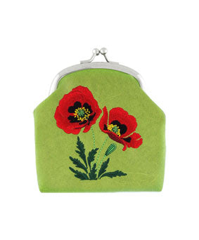 Embroidered Poppy Coin Purse- Green
